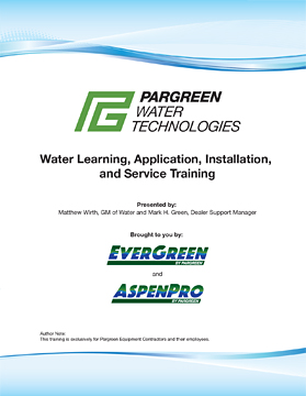 Pargreen Training and Study Menu Cover